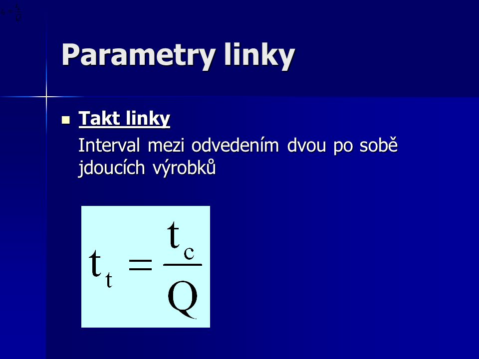 Parametry linky Takt linky