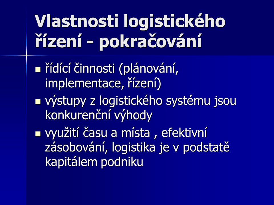 Vlastnosti logistického řízení - pokračování