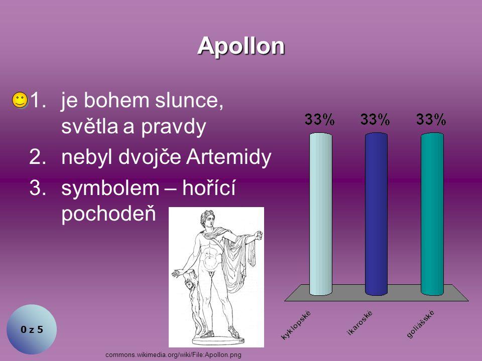 Apollon je bohem slunce, světla a pravdy nebyl dvojče Artemidy