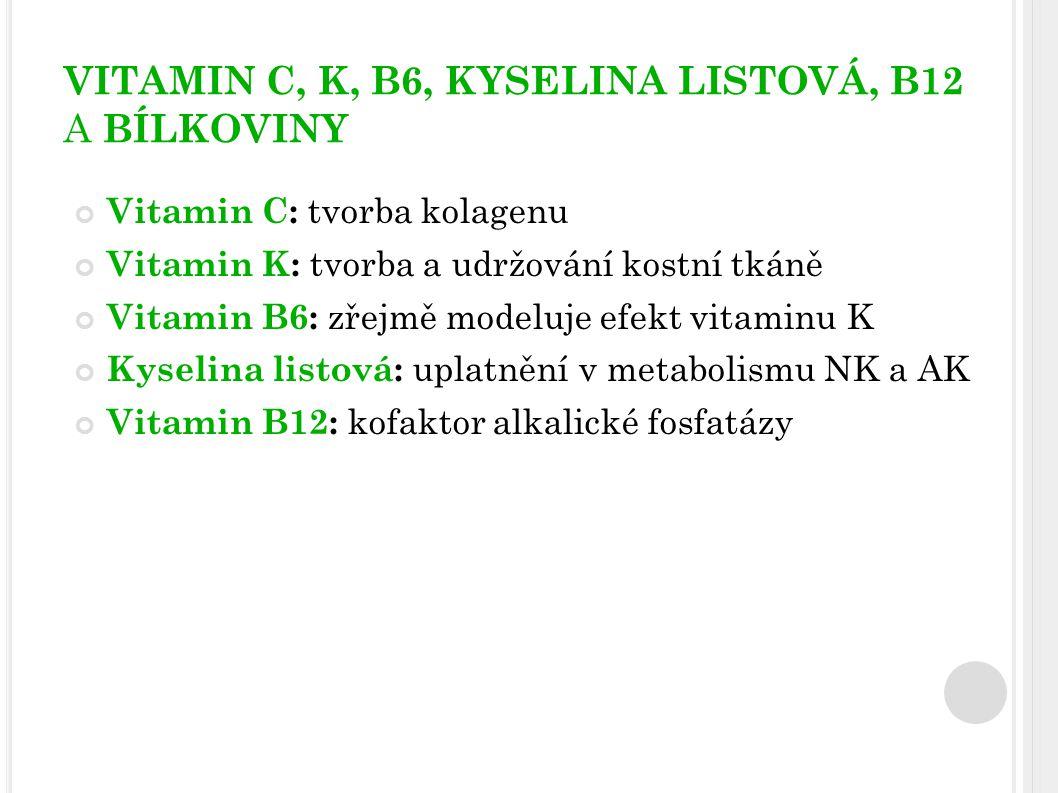 VITAMIN C, K, B6, KYSELINA LISTOVÁ, B12 A BÍLKOVINY
