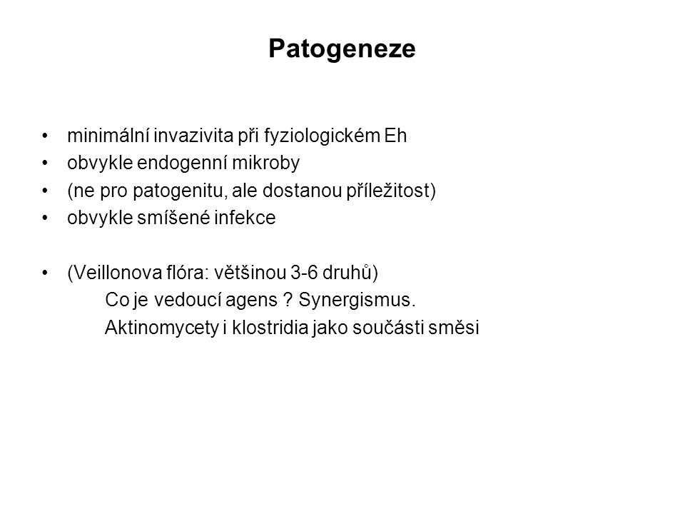 Patogeneze minimální invazivita při fyziologickém Eh