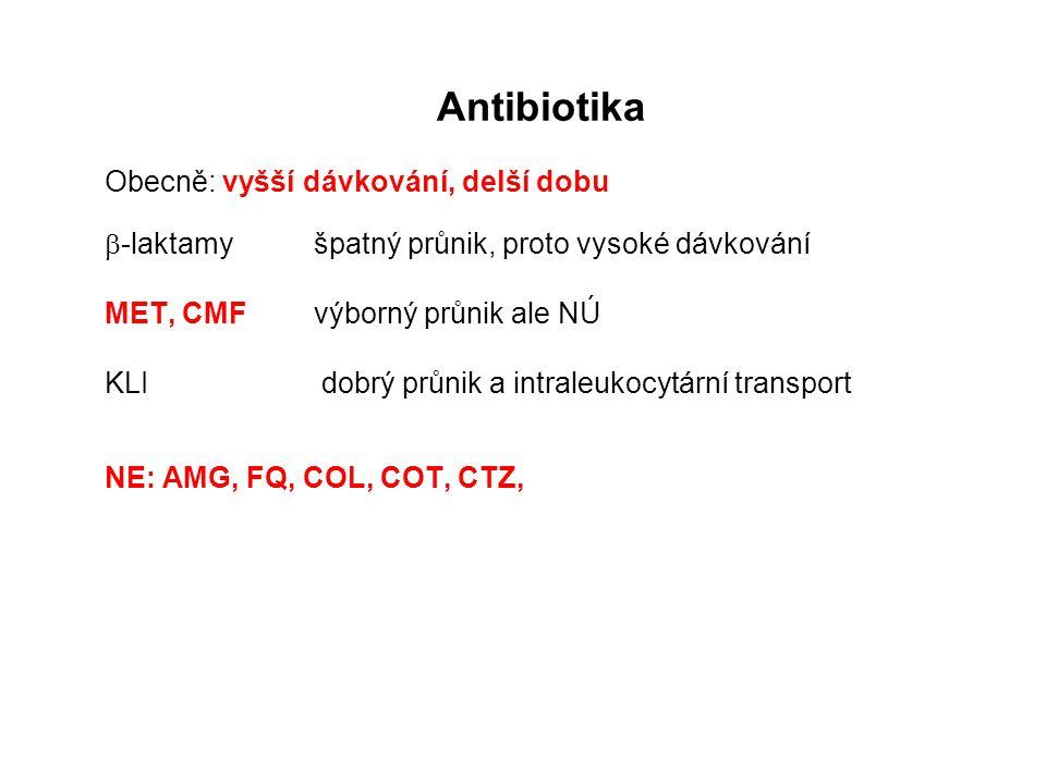 Antibiotika Obecně: vyšší dávkování, delší dobu