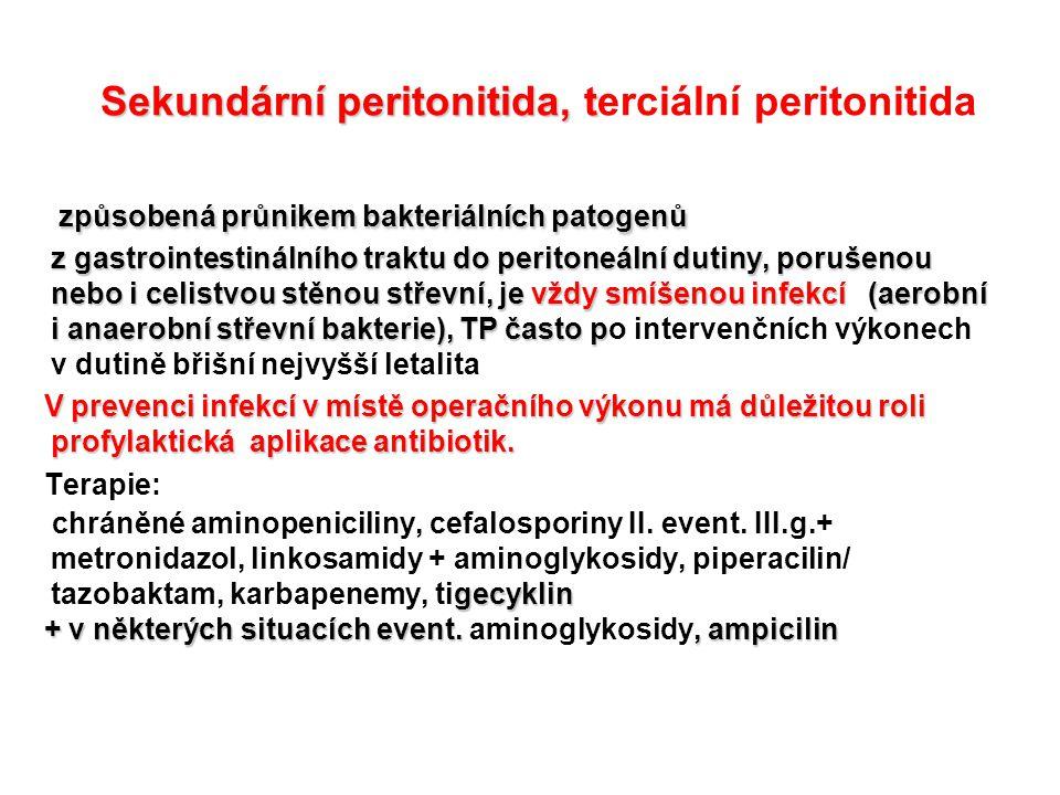 Sekundární peritonitida, terciální peritonitida