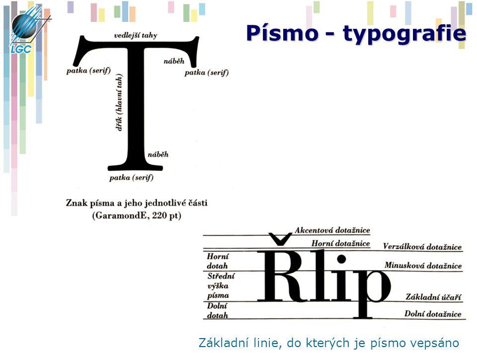 Písmo - typografie Základní linie, do kterých je písmo vepsáno
