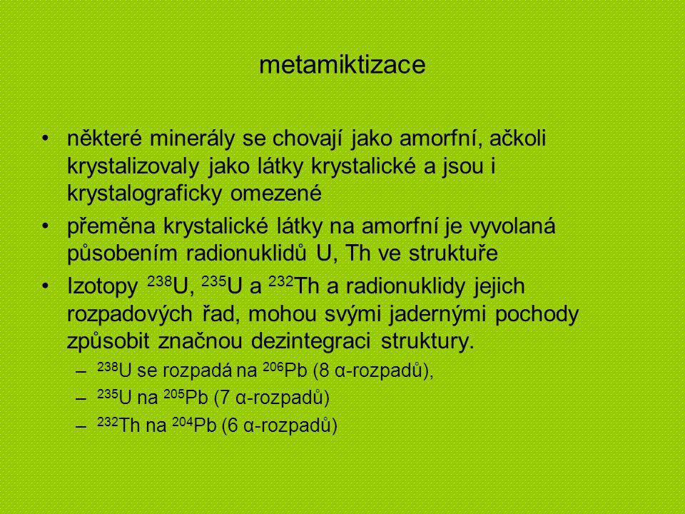 metamiktizace některé minerály se chovají jako amorfní, ačkoli krystalizovaly jako látky krystalické a jsou i krystalograficky omezené.