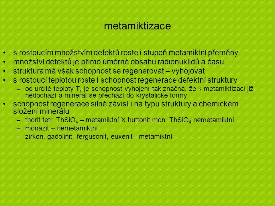 metamiktizace s rostoucím množstvím defektů roste i stupeň metamiktní přeměny. množství defektů je přímo úměrné obsahu radionuklidů a času.