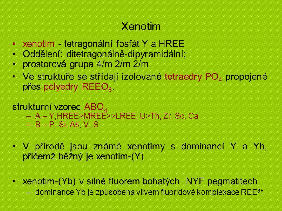 Xenotim xenotim - tetragonální fosfát Y a HREE