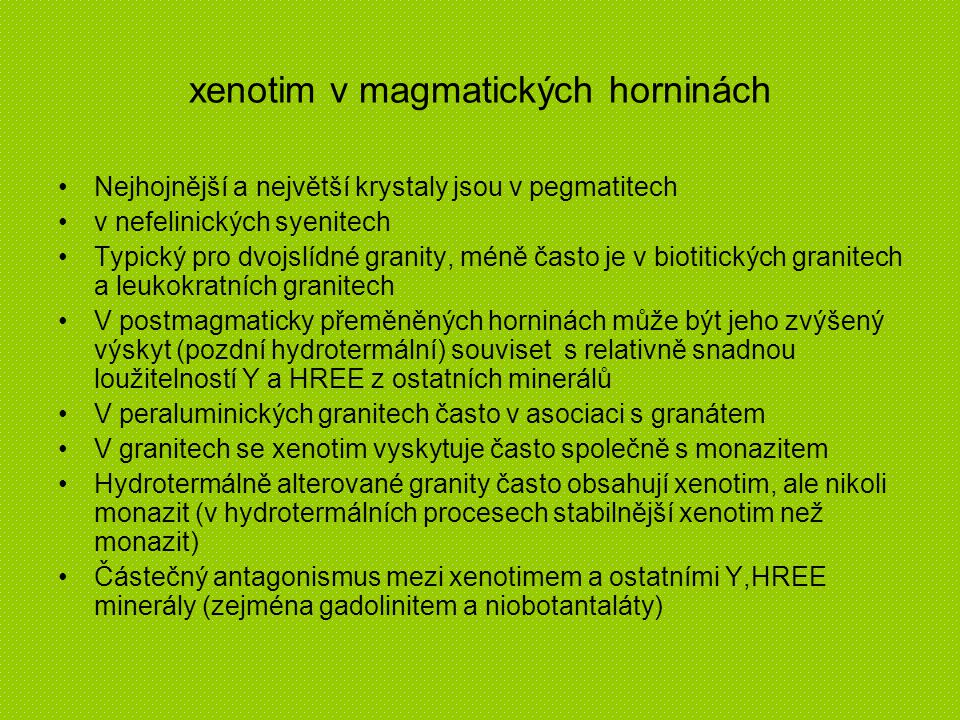 xenotim v magmatických horninách