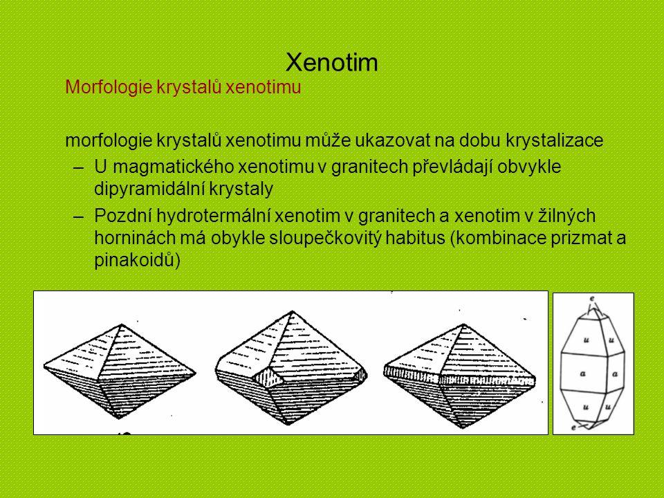 Xenotim Morfologie krystalů xenotimu