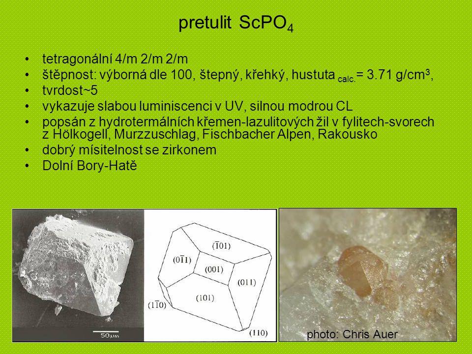 pretulit ScPO4 tetragonální 4/m 2/m 2/m