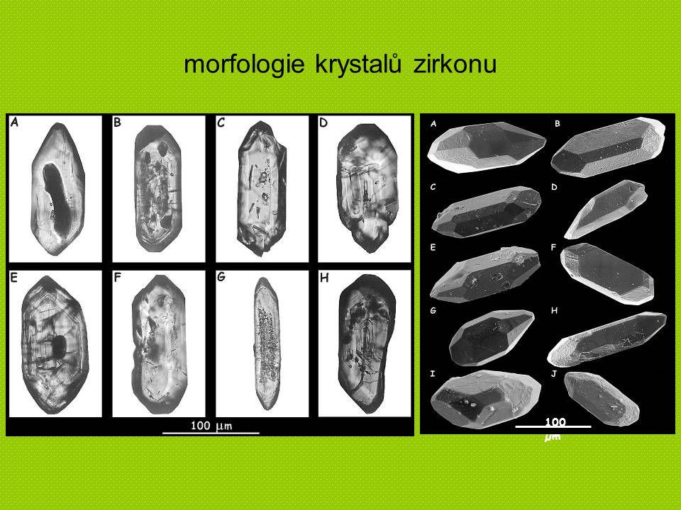 morfologie krystalů zirkonu