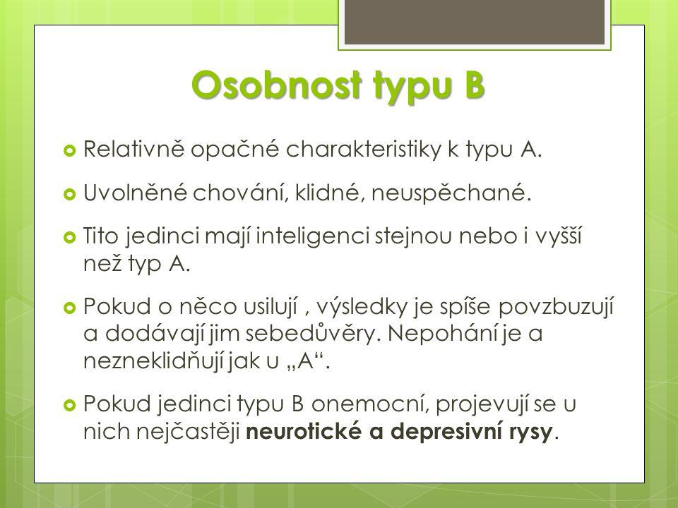 Osobnost typu B Relativně opačné charakteristiky k typu A.
