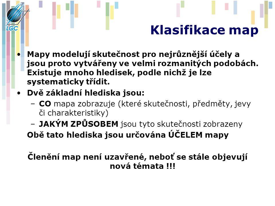Členění map není uzavřené, neboť se stále objevují nová témata !!!