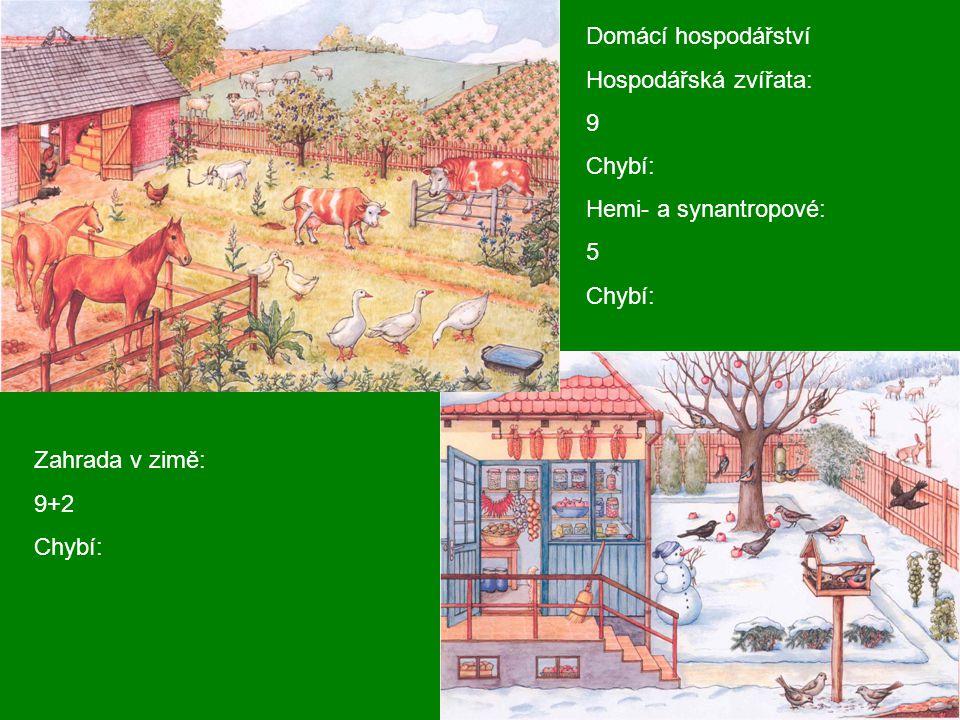 Domácí hospodářství Hospodářská zvířata: 9. Chybí: Hemi- a synantropové: 5. Zahrada v zimě: 9+2.