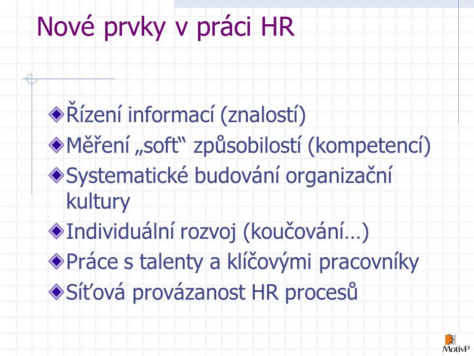 Nové prvky v práci HR Řízení informací (znalostí)