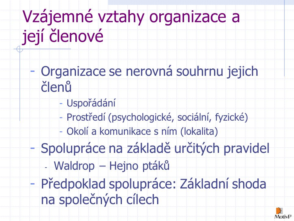 Vzájemné vztahy organizace a její členové