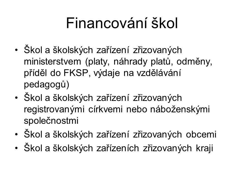 Financování škol Škol a školských zařízení zřizovaných ministerstvem (platy, náhrady platů, odměny, příděl do FKSP, výdaje na vzdělávání pedagogů)