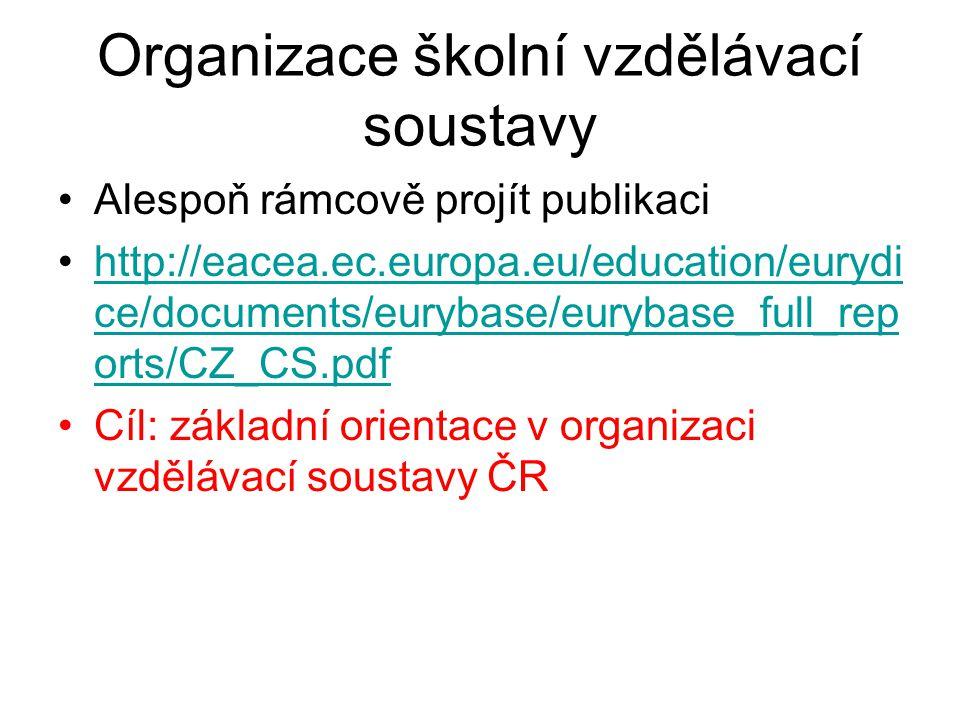 Organizace školní vzdělávací soustavy