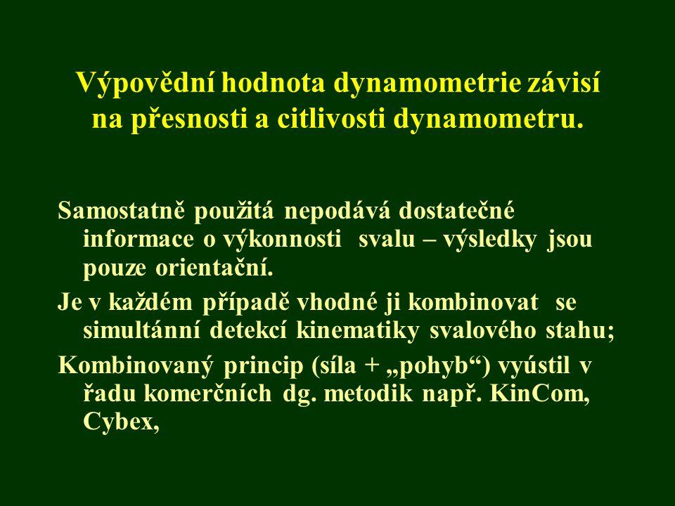 Výpovědní hodnota dynamometrie závisí na přesnosti a citlivosti dynamometru.