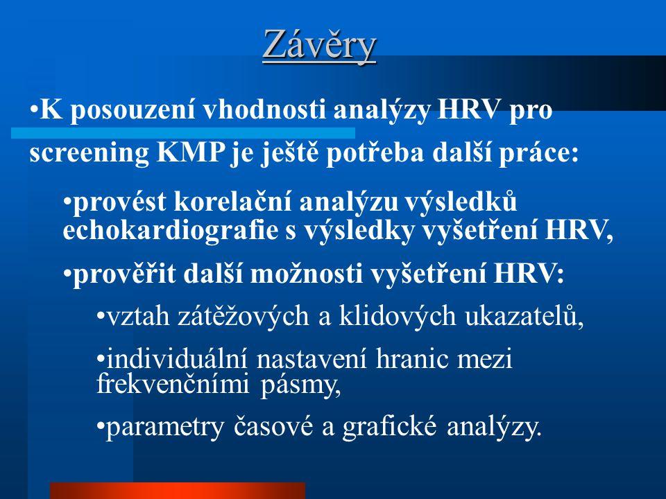 Závěry K posouzení vhodnosti analýzy HRV pro screening KMP je ještě potřeba další práce: