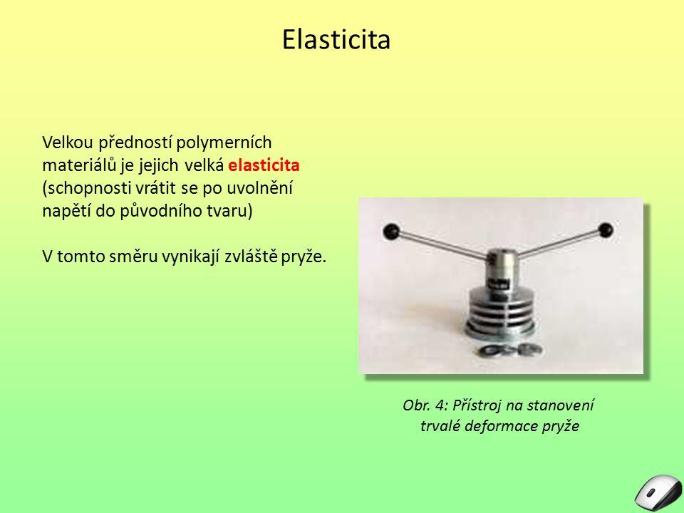 Elasticita Velkou předností polymerních materiálů je jejich velká elasticita (schopnosti vrátit se po uvolnění napětí do původního tvaru)