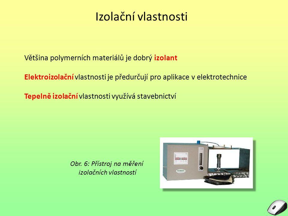 Izolační vlastnosti Většina polymerních materiálů je dobrý izolant