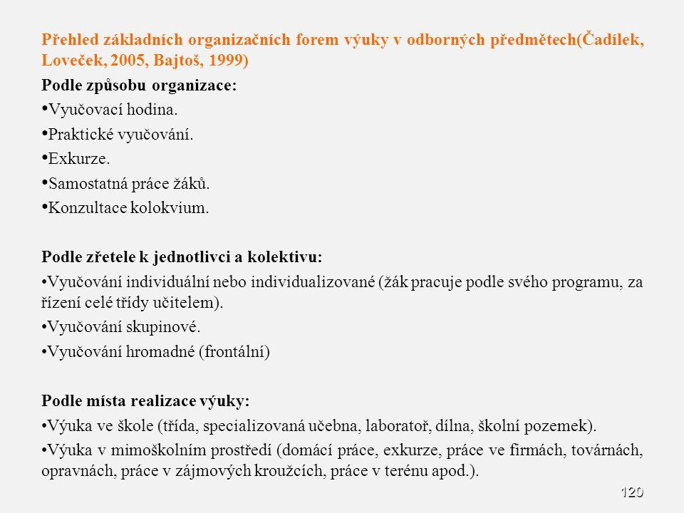 Přehled základních organizačních forem výuky v odborných předmětech(Čadílek, Loveček, 2005, Bajtoš, 1999)