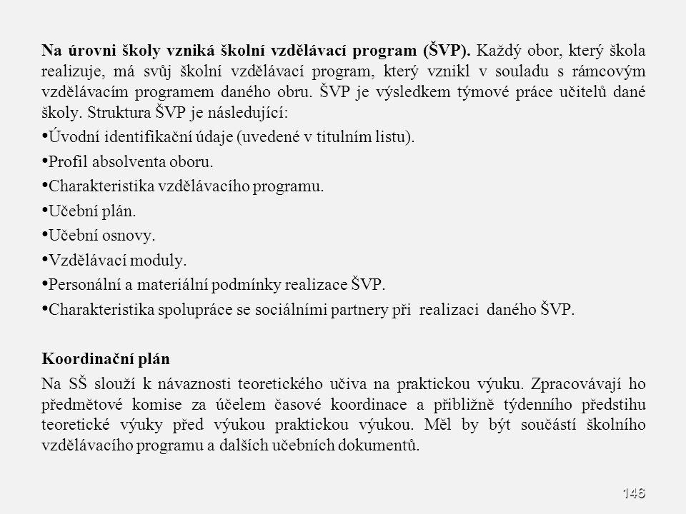 Na úrovni školy vzniká školní vzdělávací program (ŠVP)