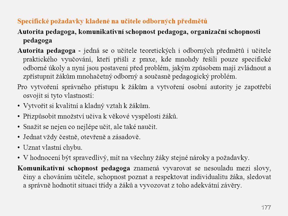 Specifické požadavky kladené na učitele odborných předmětů
