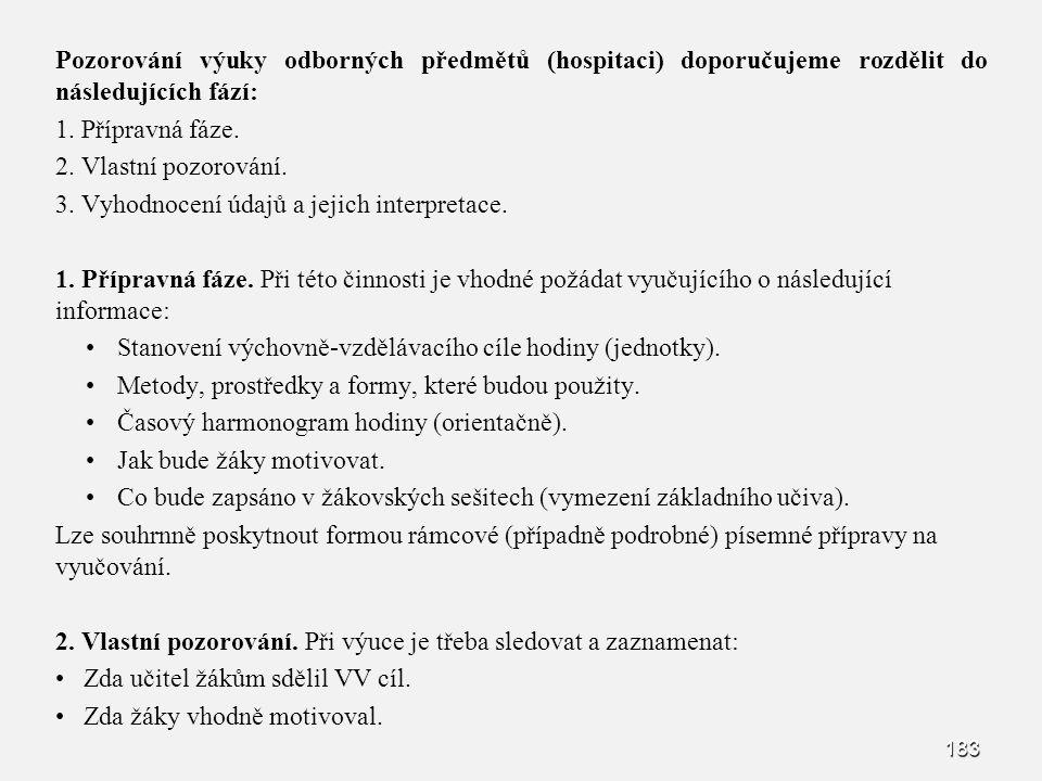 Pozorování výuky odborných předmětů (hospitaci) doporučujeme rozdělit do následujících fází: