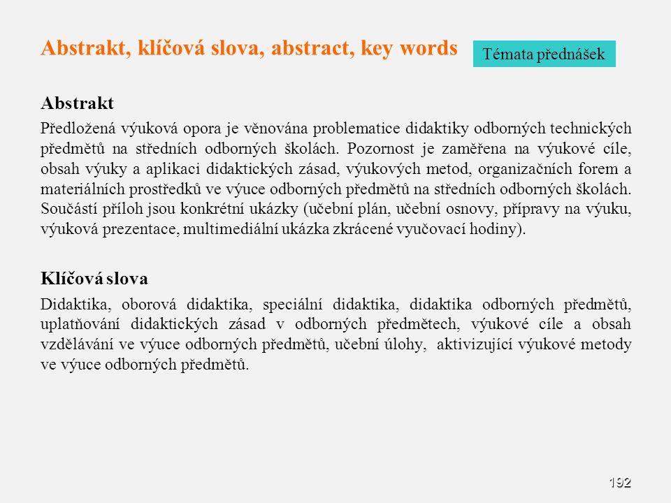 Abstrakt, klíčová slova, abstract, key words