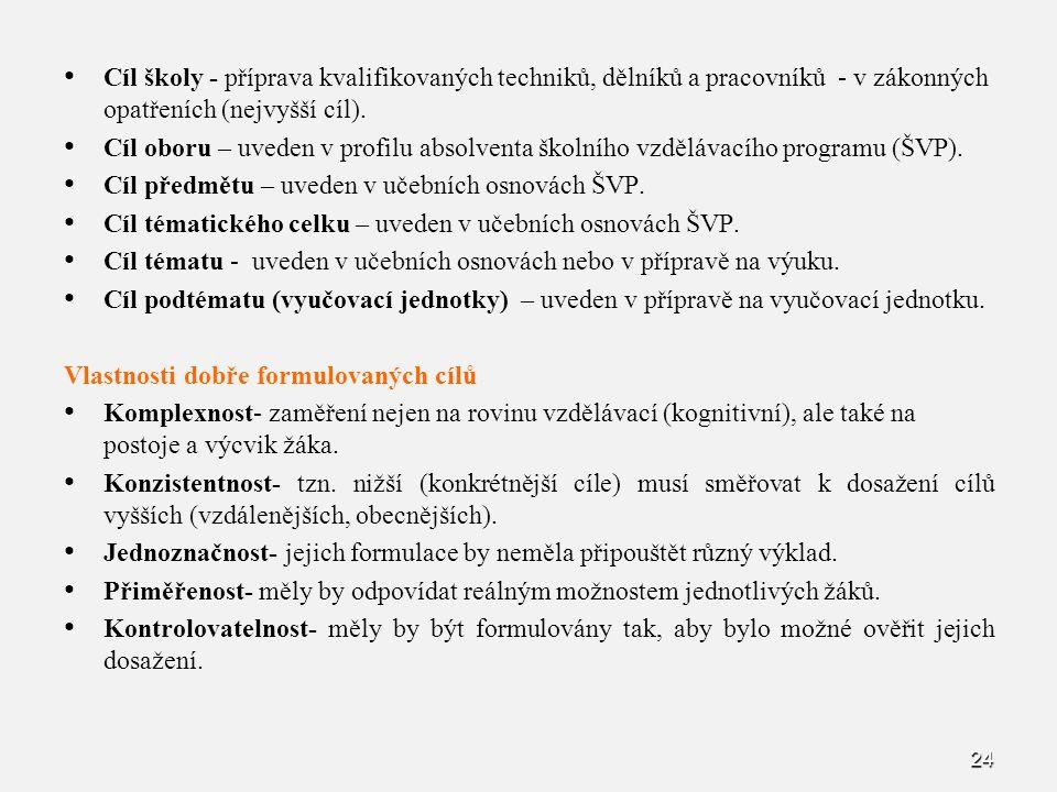 Cíl školy - příprava kvalifikovaných techniků, dělníků a pracovníků - v zákonných opatřeních (nejvyšší cíl).
