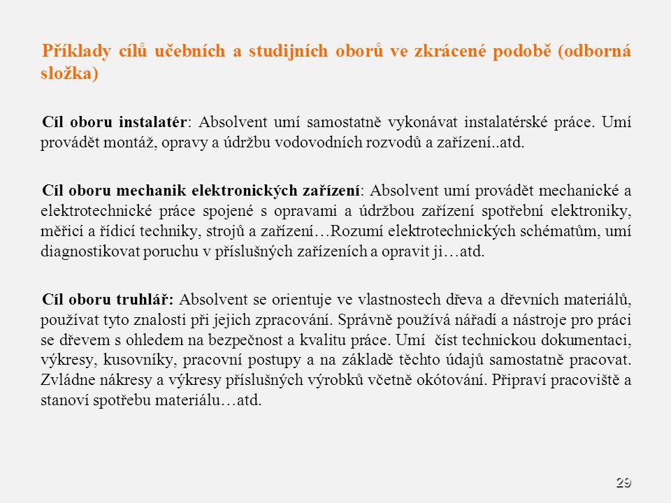 Příklady cílů učebních a studijních oborů ve zkrácené podobě (odborná složka)