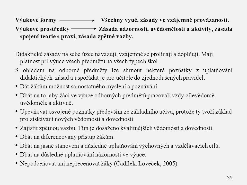 Výukové formy Všechny vyuč. zásady ve vzájemné provázanosti.