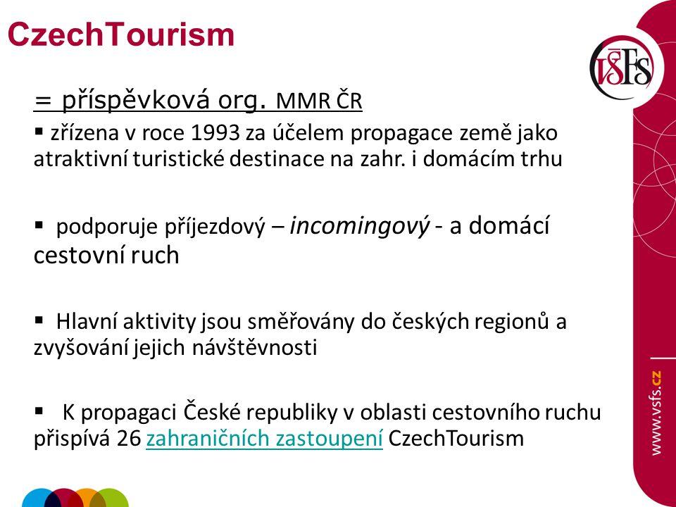 CzechTourism = příspěvková org. MMR ČR
