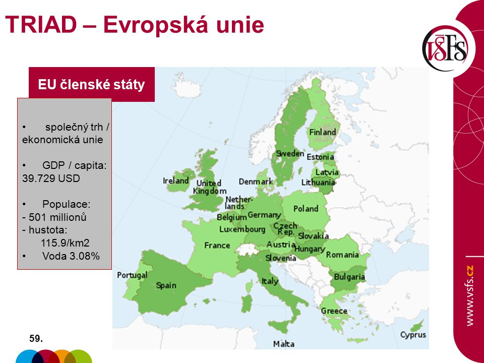 TRIAD – Evropská unie EU členské státy společný trh / ekonomická unie