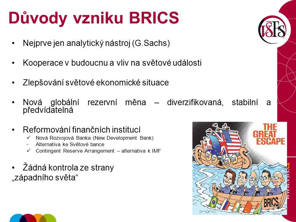 Důvody vzniku BRICS Nejprve jen analytický nástroj (G.Sachs)