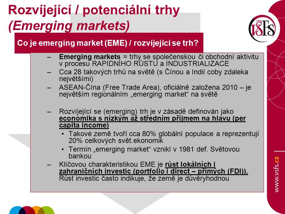 Rozvíjející / potenciální trhy (Emerging markets)