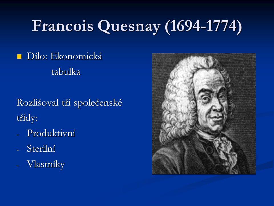 Francois Quesnay (1694-1774) Dílo: Ekonomická tabulka