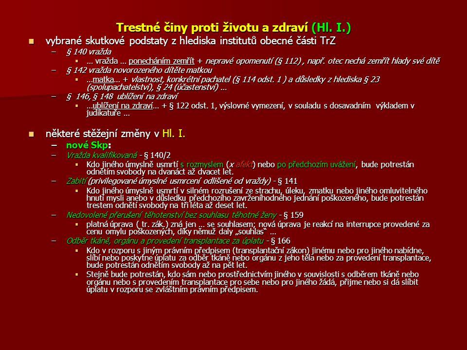 Trestné činy proti životu a zdraví (Hl. I.)