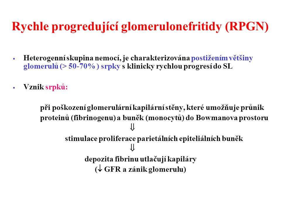 Rychle progredující glomerulonefritidy (RPGN)