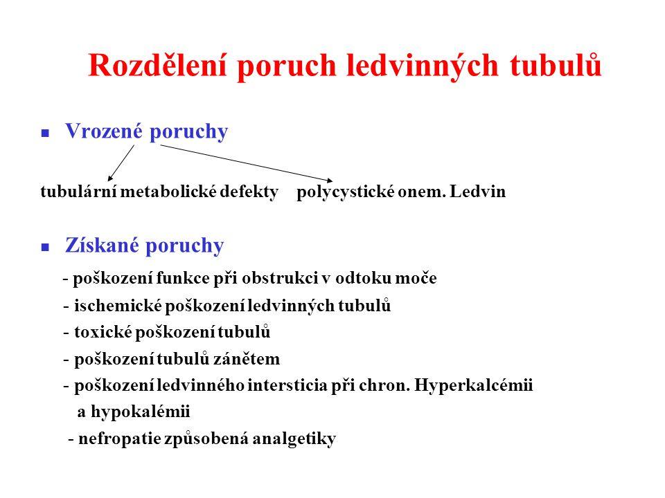 Rozdělení poruch ledvinných tubulů