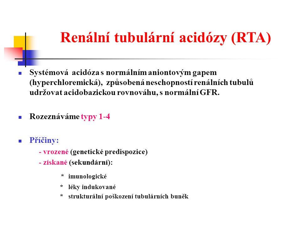 Renální tubulární acidózy (RTA)