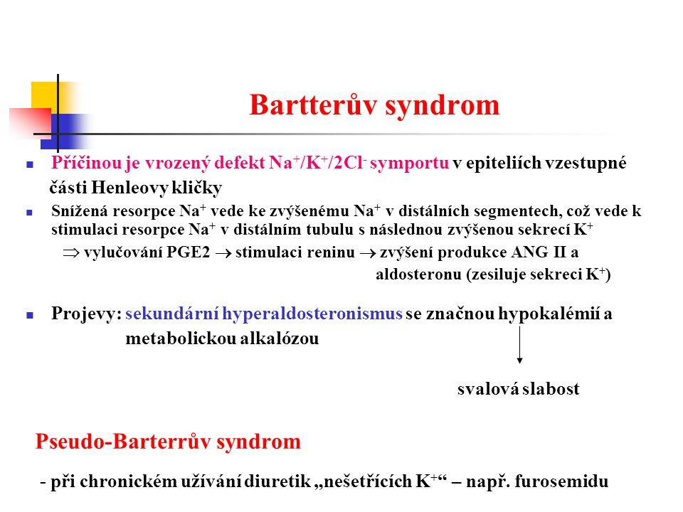 Bartterův syndrom Příčinou je vrozený defekt Na+/K+/2Cl- symportu v epiteliích vzestupné. části Henleovy kličky.