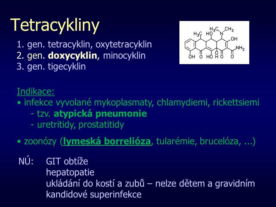 Tetracykliny 1. gen. tetracyklin, oxytetracyklin