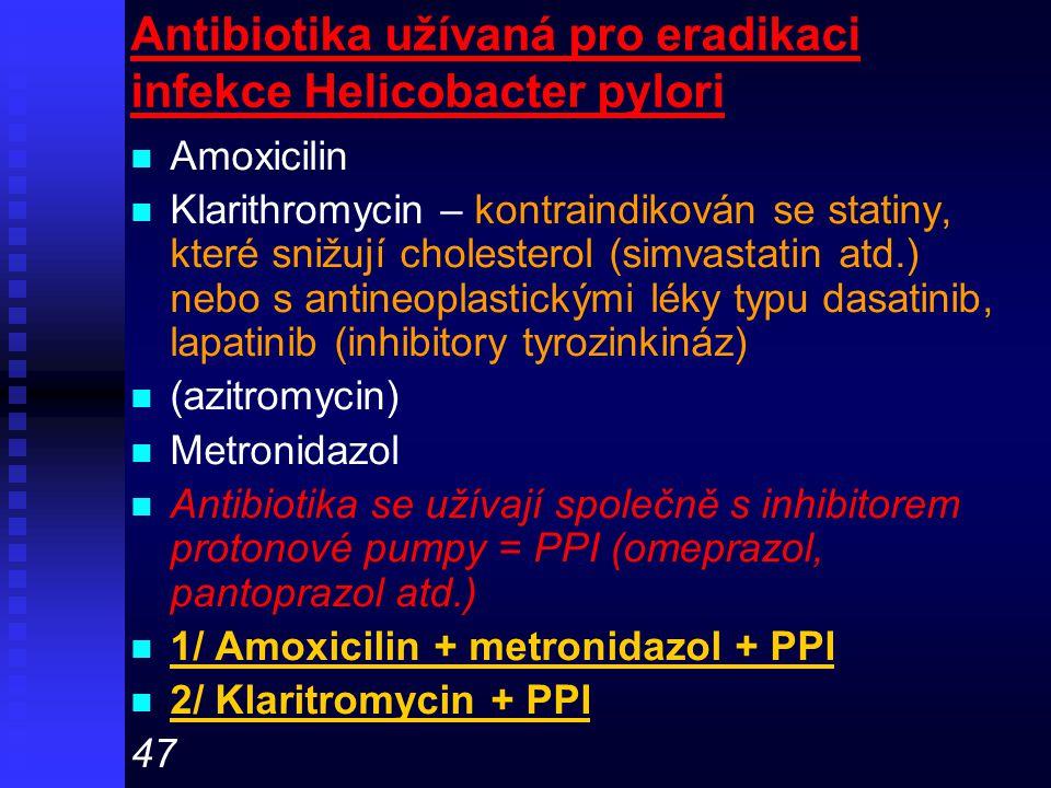 Antibiotika užívaná pro eradikaci infekce Helicobacter pylori