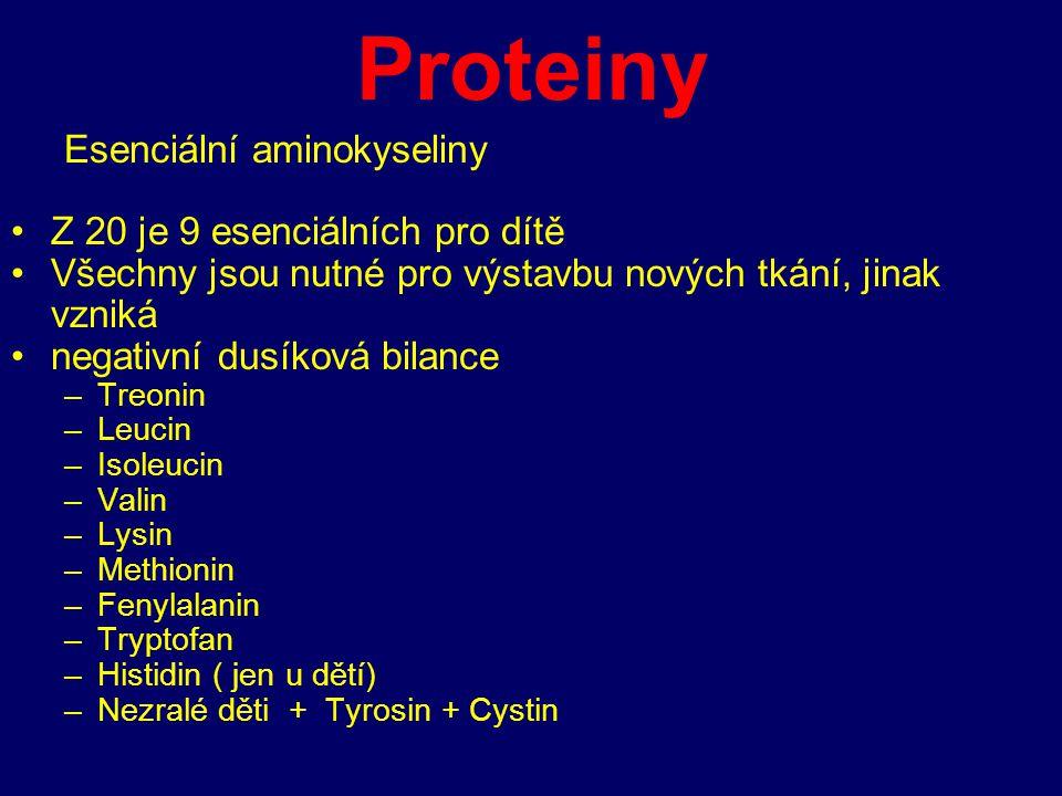 Proteiny Esenciální aminokyseliny Z 20 je 9 esenciálních pro dítě