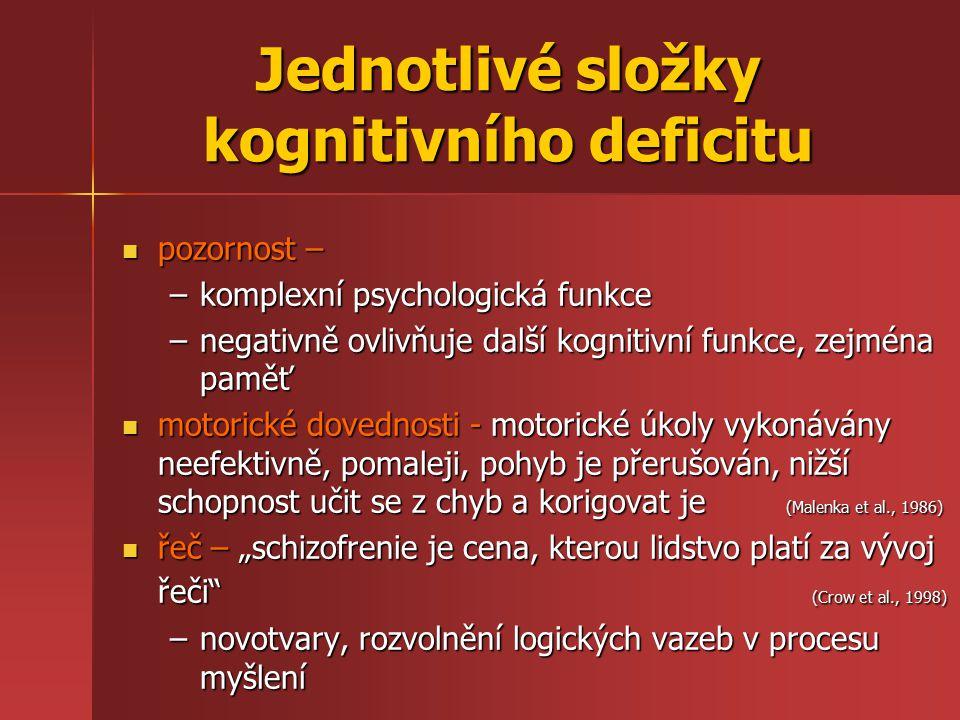Jednotlivé složky kognitivního deficitu