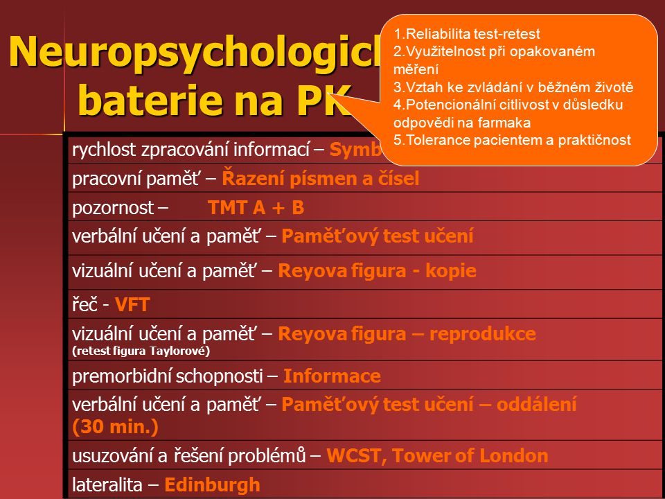 Neuropsychologická baterie na PK