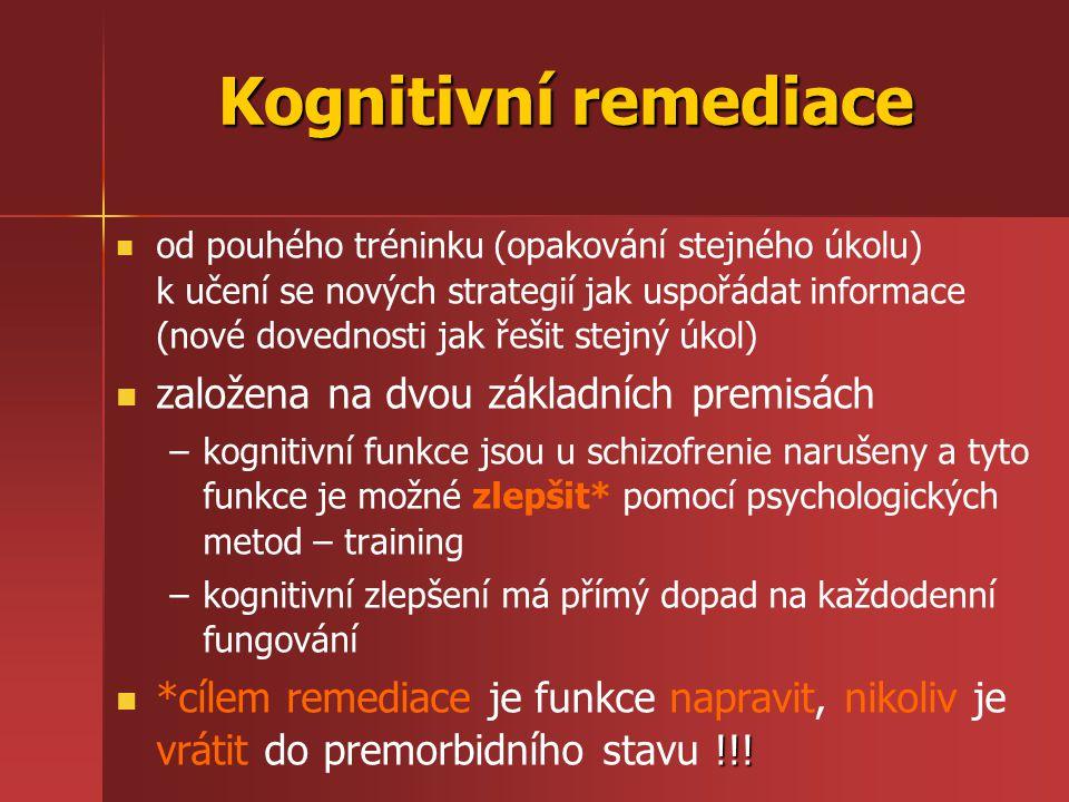 Kognitivní remediace založena na dvou základních premisách